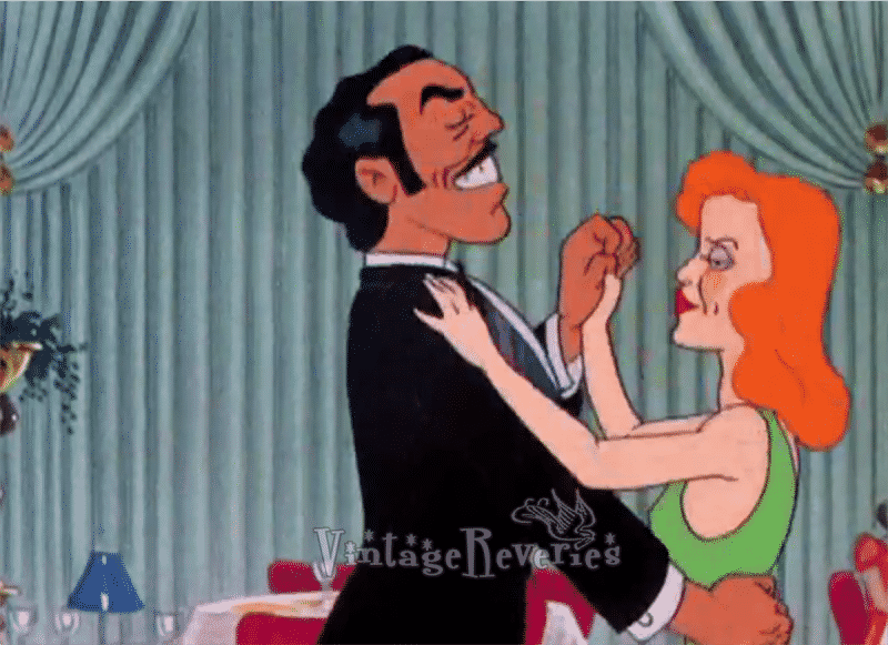 Cesar Romero dancing with Rita Hayworth. cartoon